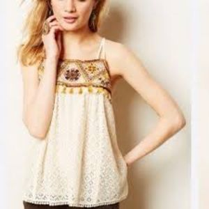 HD In Paris Anthropologie Lace Beaded Tank sz 12
